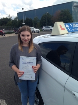 Passed on 27th August 2014 at Colwick Driving Test Centre with the help of her driving instructor Martin Powell