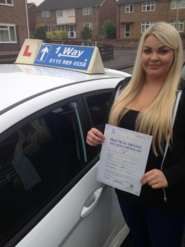 Passed on 1st September 2014 at Clifton Driving Test Centre with the help of her driving instructor Martin Powell